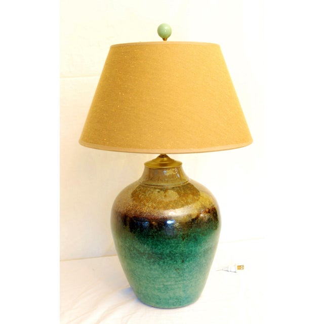 Viridian Pottery Table Lamp - Image 2 of 5