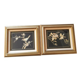Framed Bamboo Bird Art - A Pair