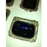 Image of Vintage Silverplate Salt Cellars Cobalt Blue