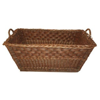 Antique French Willow Flower Market Basket