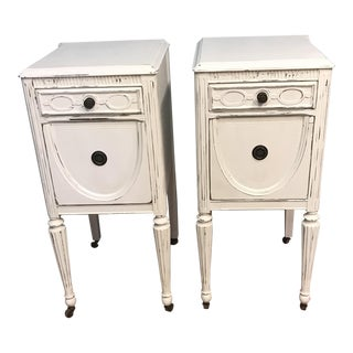 Antique Distressed White Nightstands - A Pair