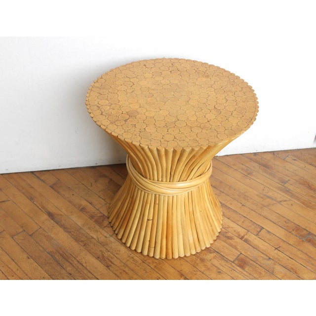 McGuire Wheat Sheaf Side Table- Rattan and Bamboo End Table - Image 3 of 6