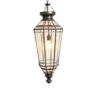 Beveled Glass & Iron Pendant Lamp
