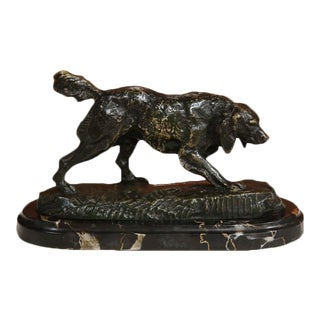 19th C. French Bronze Dog on Marble Base