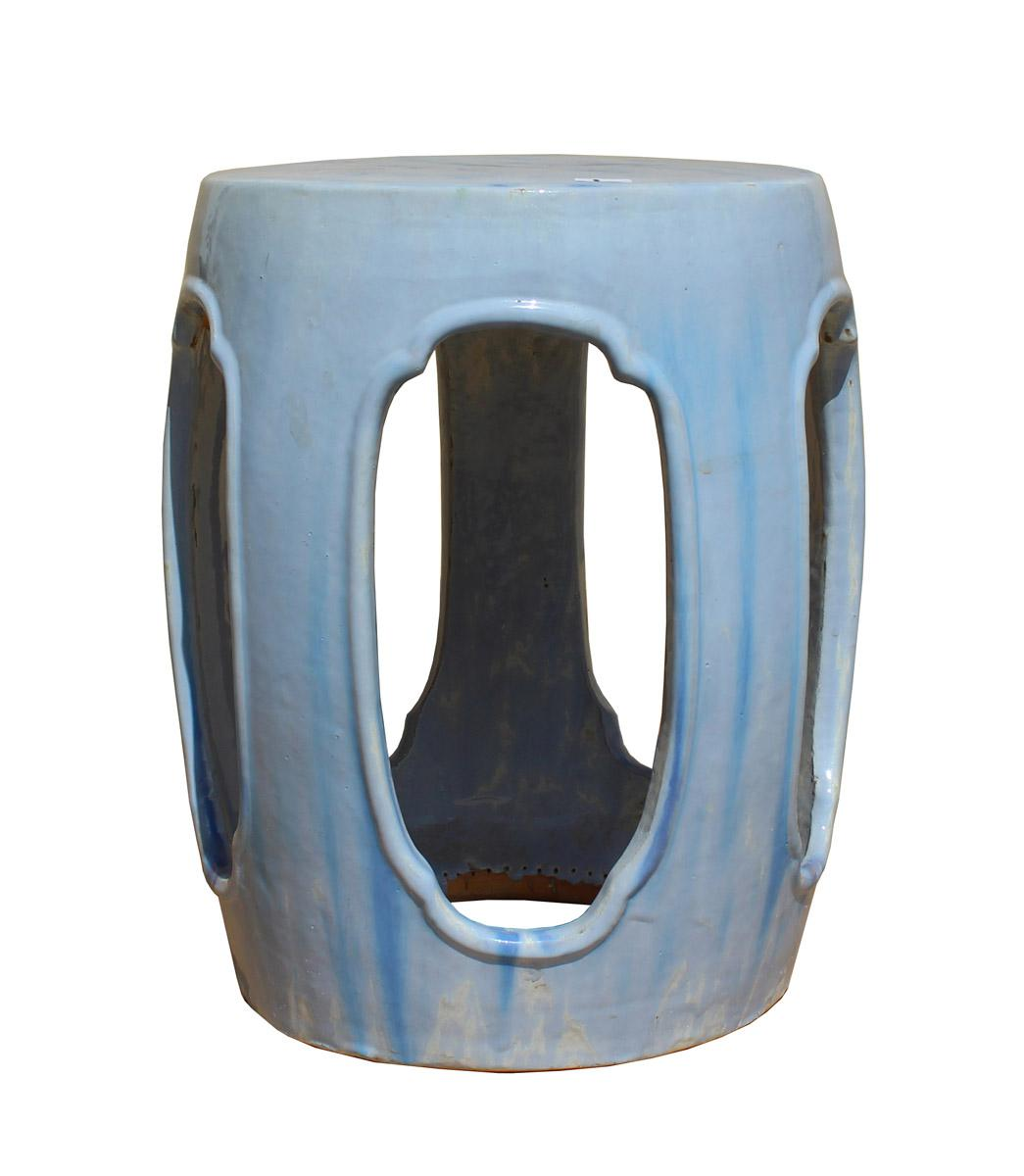 Chinese Round Barrel Light Blue Ceramic Clay Garden Stool   Image 2 Of 7