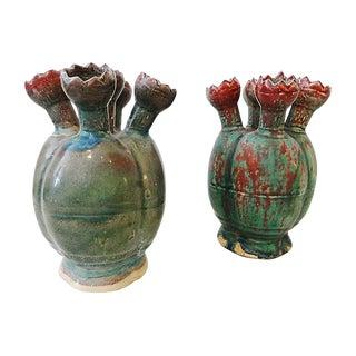 Celadon Tulip Vases, S/2