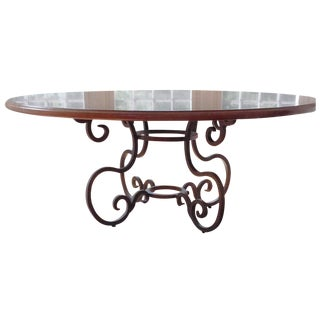 6' Round Dining Table with Iron Scroll Base