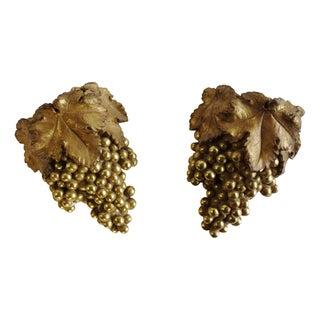 Decorative Golden Grape Cluster Brackets- A Pair
