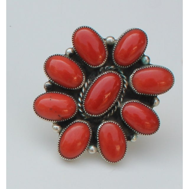 Image of Chato Vintage Native American Coral Cluster Ring