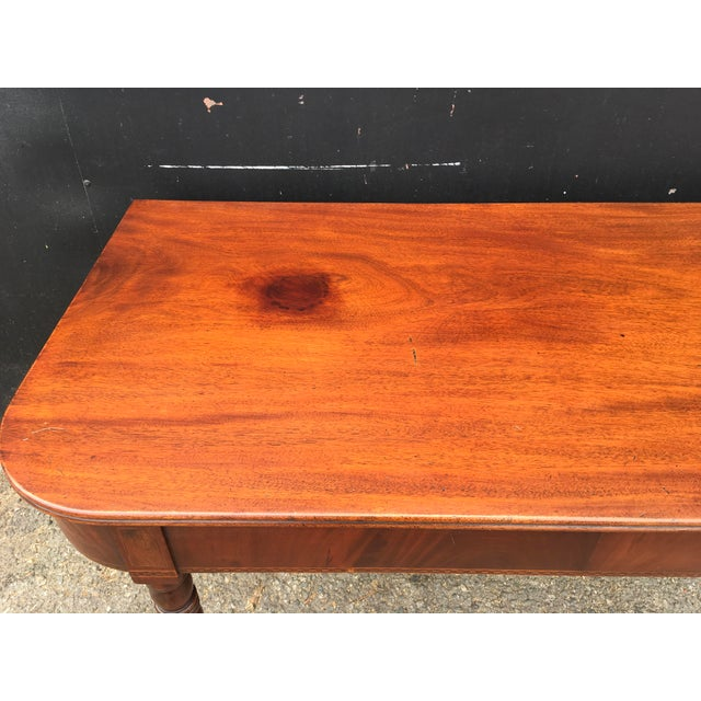 Antique English Walnut Writing Desk on Brass Casters - Image 5 of 11