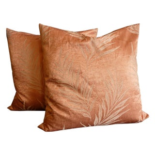Pink Sheen Fern Leaf Pillows - A Pair