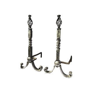 Twisted Iron Andirons - Pair