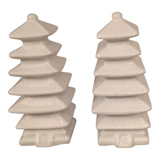 White Lacquered Pagoda Lamp Finials - a Pair