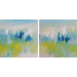 Modern Expressive 'It Must Be Love' Diptych Painting- Set of 2