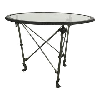 Vintage used dining tables dining room tables for Cast iron and glass dining table