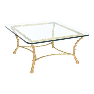 French Modern Gilt Bronze Low Table, Attributed to Maison Baguès