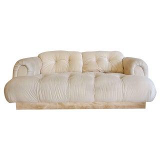 1970's Italian Modern Style Brass Plinth Sofa