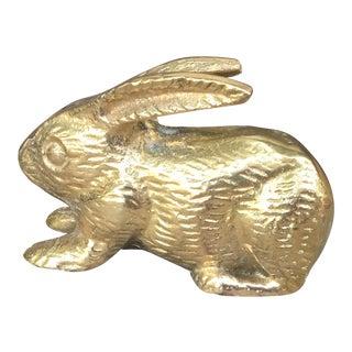 Vintage Mid Century Modern Solid Brass Bunny Rabbit Figurine