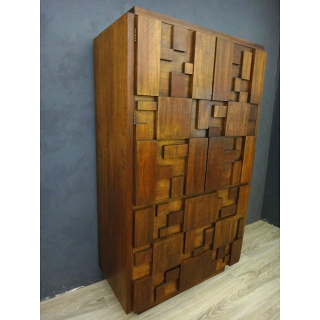 "Mid-Century Lane Brutalist ""Mosaic"" Highboy Bureau - Image 2 of 8"