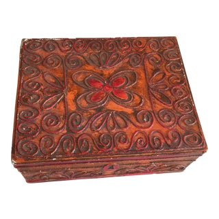 Mid-Century Boho Style Carved Wood Butterfly Box