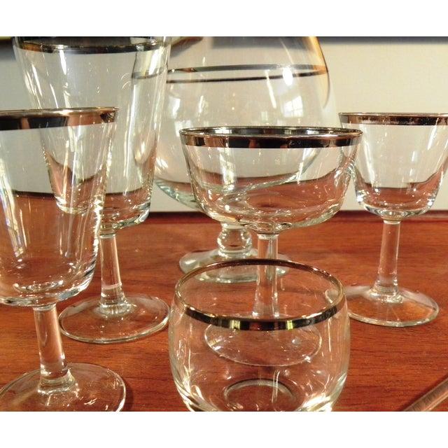 Image of Vintage Mid-Century Silver Rim Glassware - Set/30