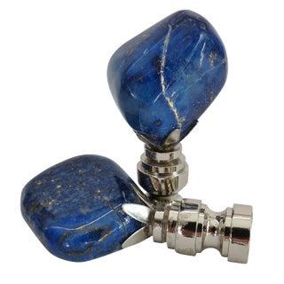 Lapis Lazuli Custom Nickel Lamp Finials - A Pair