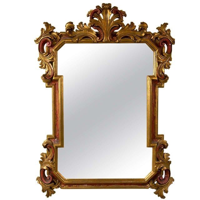 gilt gold and paint decorated mirror - Decorated Mirror