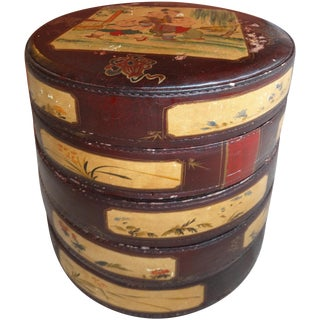 Asian Painted Stitched Leather Stack Bins - S/5