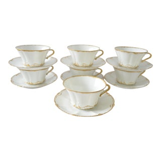 Theo Haviland Limoges Cups & Saucers - Set of 7