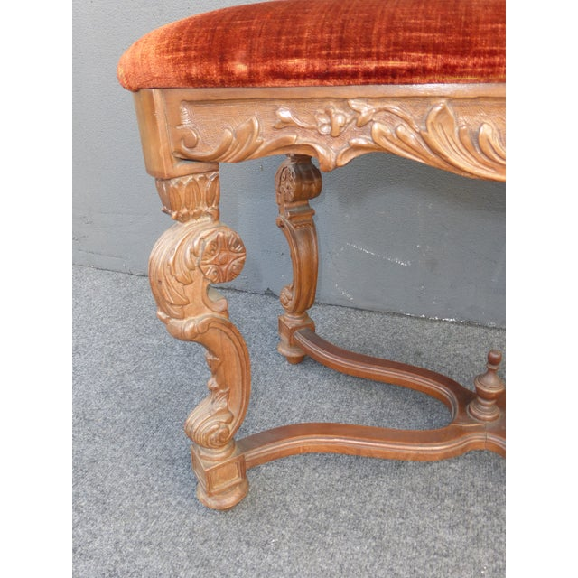 Antique Ornate Carved Orange Velvet Bench - Image 6 of 10