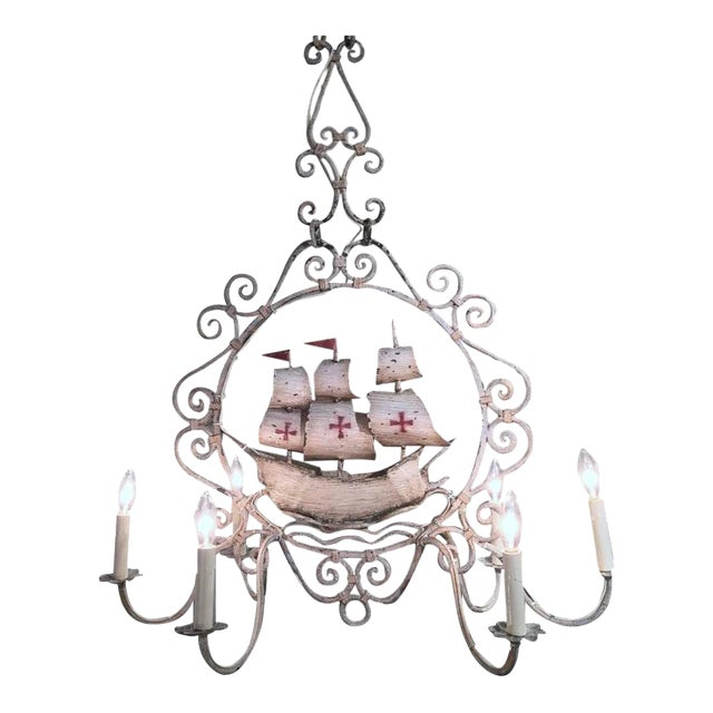 Mid-20th Century French Painted Iron 6-Light Sailboat Chandelier - Image 1 of 9