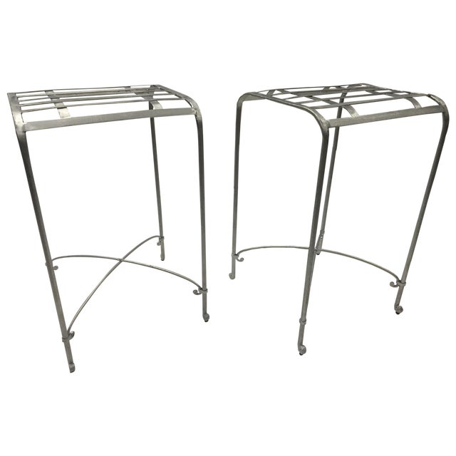Italian Galvanized Iron Counter Stools - A Pair - Image 1 of 6