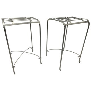 Italian Galvanized Iron Counter Stools - A Pair
