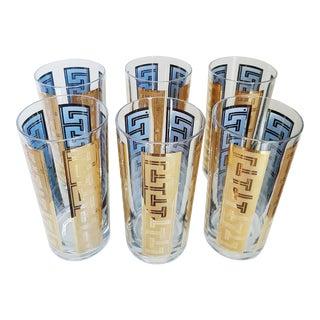 Hollywood Regency Gold Gilded Greek Key Glasses - Set of 6
