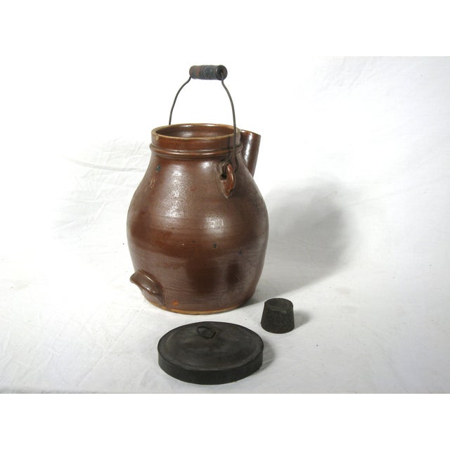 Antique Brown Pitcher With Lid - Image 3 of 6