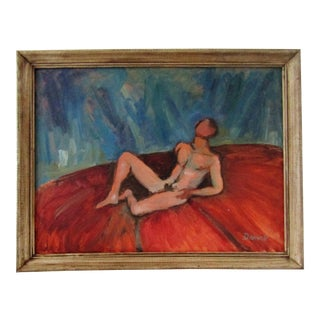 "George Daniell ""Reclining Male"" Original Oil on Canvas Painting"