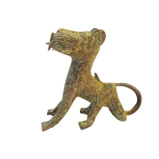 Nigeria African Benin Seating Leopard Bronze Sculpture