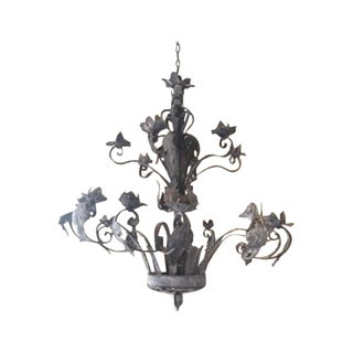 Vintage Wrought Iron 18-Branch Chandelier