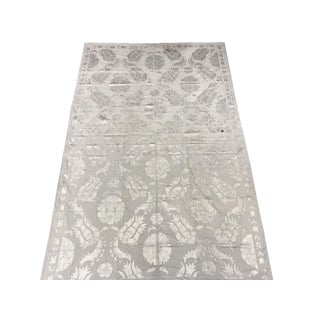 Tulip Design Handmade Gray Suzani Bedspread