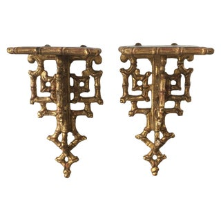 19th C. Giltwood Faux Bamboo Wall Brackets - A Pair