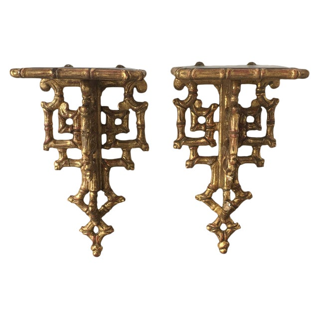 19th C. Giltwood Faux Bamboo Wall Brackets - A Pair - Image 1 of 6