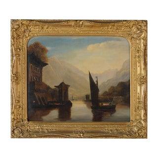 "18th Century Italian ""Lake Como"" Oil Painting"
