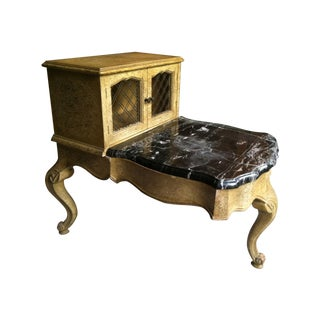 Antique 1940's–1950's Small Step Table with Marble