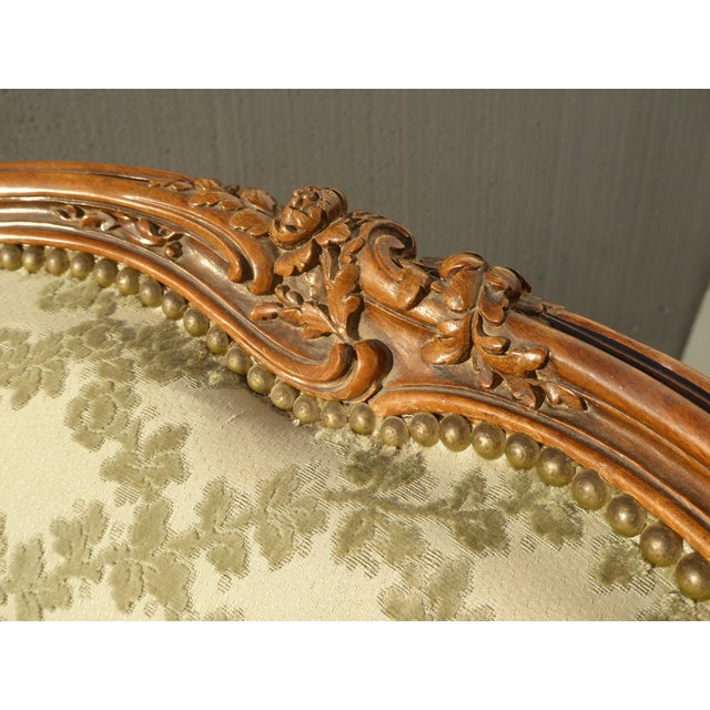 Antique Carved French Louis XV Style Barrel Back Bergere Chair - Image 7 of 11