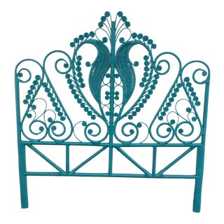 Teal Peacock Queen Size Headboard