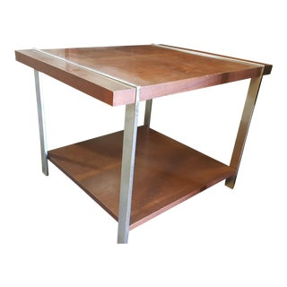Lane Mid-Century Wood & Chrome End Table