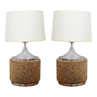 Beautiful pair of cork and chrome table lamps--1970s USA
