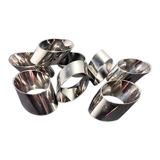 Vintage Landes Bias Cut Silver Plated Napkin Rings - Set of 8