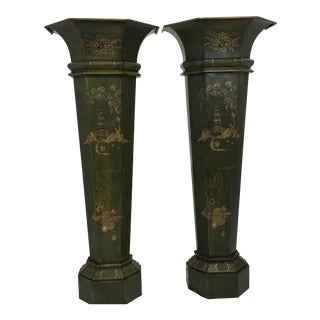 Large Italian Tole Chinoiserie Planters,S/2