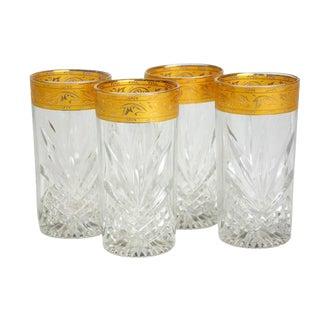 Vintage Golden Rim Cocktail Glasses - Set of 4